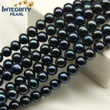 wholesale pearls necklace images Freshwater natural round black pearls necklace price strand beads jpg