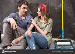 young couple renovating house u2014 stock photo dmitrypoch 150432352