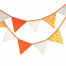 Bunting Flags Wedding 12 Flags 3 2m Orange Flowers Cotton Fabric Bunting Pennant Flag