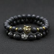 stone silver bracelet images Owl head bracelet with natural black lava rock stone silver and jpg