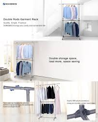 amazon com songmics adjustable double rods garment rack rolling