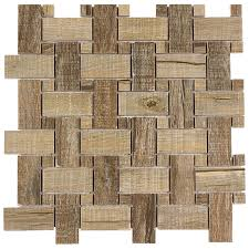 shop elida ceramica wooden basketweave mosaic wood look porcelain