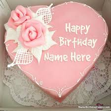 unique happy birthday cake with name and photo