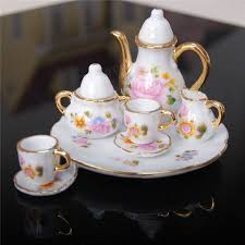 vintage tea set 8pcs porcelain vintage tea sets teapot coffee retro floral cups
