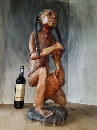 jamaican wood sculptures wood sculpture rasta with drum 66 cm or jamaica