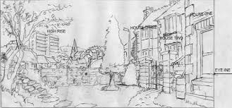 scenery outline drawing
