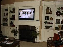 interior white wooden bookcase design ideas with mounting tv