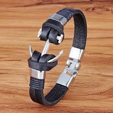 fashion charm leather bracelet images Good price 2018 fashion charm leather anchor men 39 s bracelets hot jpg