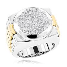 gold pave rings images Mens 14k two tone gold diamond ring with pave round diamonds 2 04ct jpg