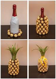 ausgefallene hochzeitsgeschenke selber machen mitbringsel rocher sekt ananas diy mitbringsel