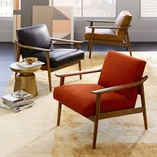 Mid Century Modern Accent Chair Mid Century Leather Show Wood Chair West Elm