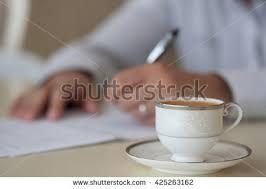 on break sign for desk morning businessman sitting desk having coffee stock photo royalty