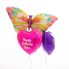 personalised birthday balloons inflated personalised butterfly birthday foil balloons by