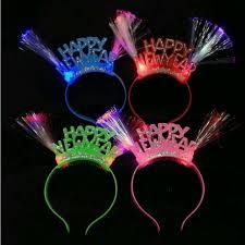 new year supplies 2018 women happy year light up fiber headband led