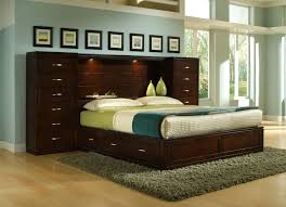Bedroom Set With Storage Headboard Bedroom Laminated Floor Green Memory Foam Mattress White Fabric