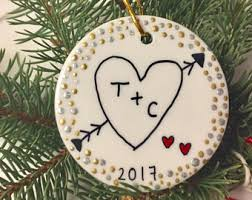 christmas ornaments with initials ornament etsy