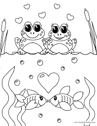 frog fish couples valentine coloring coloring