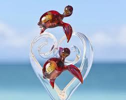 custom glass heart wedding cake topper with kissing angelfish