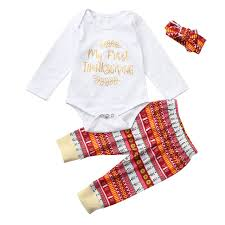 newborn infant baby boy letter romper tops thanksgiving