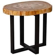 wood top coffee table metal legs small side table with petrified wood top and metal legs metals
