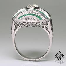antique art deco platinum 2 13ctw diamond u0026 emerald ring art