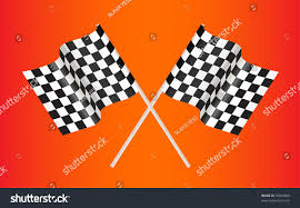 Red Orange Flag Checkered Racing Flag On Red Background Stock Vector 79066888