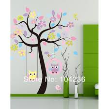 compare prices on owl wall stickers for nursery online shopping owls swing under tree wall stickers tree wall decals animal wall art owls cute wall decals