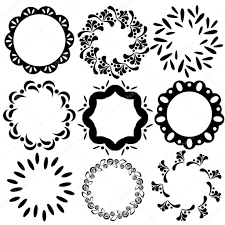 Wedding Invitation Greeting Cards Vector Simple Floral And Geometric Circle Frames Vintage Design