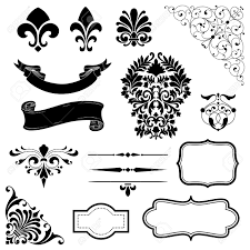 ornament set set of black vector ornaments scrolls banners
