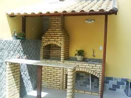 Favorito Churrasqueira com pia tijolo branco boleado e telhado colonial  @NB58
