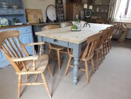 large 8ft shabby chic vintage country pine table and 10 farmhouse