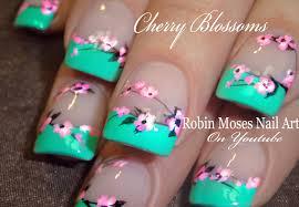 easy cherry blossom nails spring flower nail art design tutorial