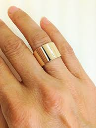gold band ring handmade 10k yellow gold wide band 10 karat gold