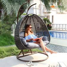 Patio Egg Chair Durable Double Seat Hanging Swing Egg Chair Patio Furniture Latte