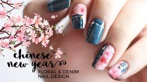sakura cherry blossoms denim nail art annabel lee youtube