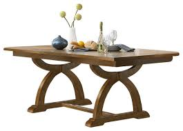 Trestle Dining Table With Solids Rubberwood Distressed Sandstone - Trestle kitchen tables