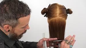 trimming hair angle cut how to cut hair straight creating a precision bottom edge youtube