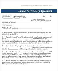 business partner contract partnership agreement template sample
