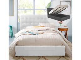 queen size gas lift pu leather bed frame walter collection white