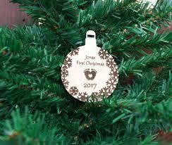 oak baby u0027s first christmas personalised wooden bauble tree