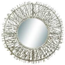 wood metal wall mirror tree branch silver chrome decor 69158
