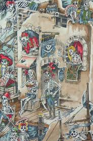 alexander henry skelewags fabric skeletons fabric pirate