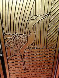 Art Deco Style Four Panel Art Deco Style Floor Screen Gold And Black Modernism