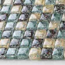 Glass Tile Backsplash Ideas Bathroom Yellow Brown Crackle Glass Mosaic Blue Backsplash