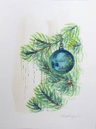 Paintings Of Christmas Ornaments Watercolour Wednesday U2014 Blue Christmas Ornaments Christmas Tree