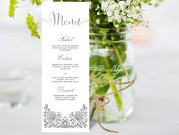 wedding invitations red and silver wedding menu editable ms word template diy lace white and silver