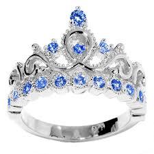 birthstone rings for 14k gold princess crown genuine sapphire birthstone ring