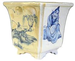 chinese handmade ceramic blue graphic planter old man asian