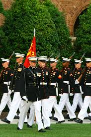 stock photo of marines in dress uniforms