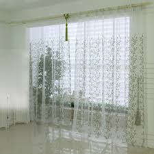 Long White Curtains White And Green Leaf Extra Long Sheer Curtains Buy White Sheer
